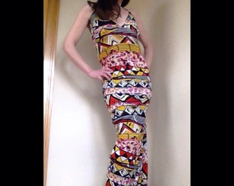 yellow orange and multi color tribal maxi dress
