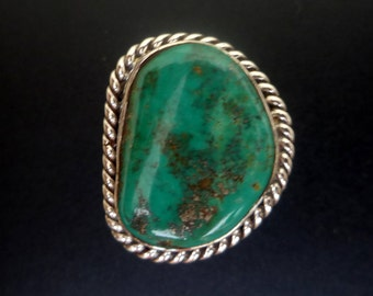 Green Turquoise Statement Ring - Boho Style Turquoise Ring - Handmade Sterling Silver and Turquoise Statement Ring - Size 8.5