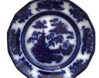 Vintage English Ironstone Flow Blue Plate Antique Oriental Challinor Pelew