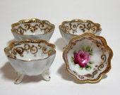 Gold Trimmed Porcelain Open Footed Salt Cellars Hand Painted Pink Roses