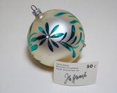 Bavarian Hand Blown Glass Christmas Ornament Teal Floral Design on White Stain Rhinestone Accents
