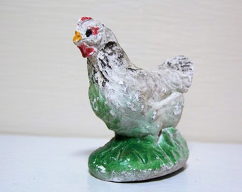 White Chicken Chalkware Figure Farm Animal Display