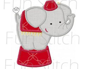 circus elephant applique machine embroidery design