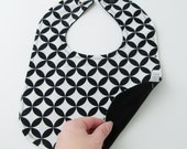 Bib in Black and White Diamond Eye Fabric