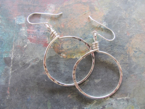 Sterling Silver Hoops - Medium Hammered Earrings, minimalist jewelry, Simple round circles dmalia designs