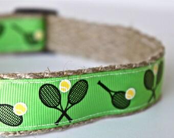 Tennis Dog Collar, Sport Dog Collar, Racquet Dog Collar, Tennis Ball Dog Collar