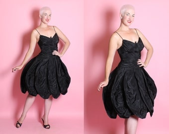 """COUTURE 1950's New Look """"Midnight Butterfly"""" Inky Black Silk Taffeta Party Dress w/ Fully Ruched Bodice & Winged Petal Style 3D Skirt - M"""
