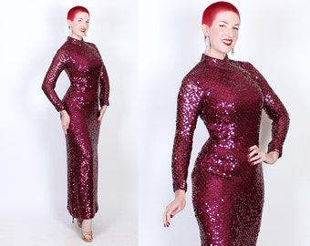 DAZZLING 1950s / 60s Custom Fully Sequined Metallic Magenta Purple Cheongsam Hourglass Evening Gown - Showgirl - Burlesque - VLV - Size L