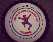 Spiderman Inspired Collection: Set of 8 Circle Favor Tags. Spidey. Tags. Favors. Spider man Superhero superman peter parker Birthday.