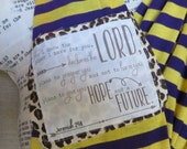 Purple and Yellow Stripe Infinity Scripture Scarf