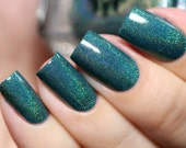 """Nail polish - """"Forever and Ever - LE"""" Teal subtle linear holographic polish"""