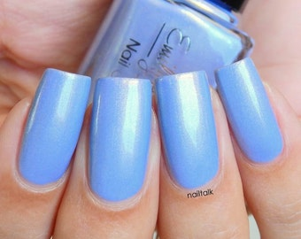 "Nail polish - ""Gazing Upwards"" Light blue shimmer polish"