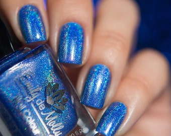 "Nail polish - ""Perfect Oasis"" Bright blue linear holographic polish"