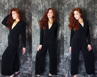 Vintage 1990s Stretch Black Disco Flare Batwing Jumpsuit Small