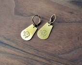 ELEPHANT earrings // raw brass hook earrings // hand stamped jewelry