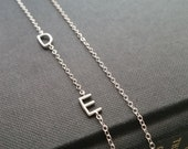 Sideway initial necklace, silver initial necklace, personalized jewelry, 1,2,3,4,5 letter charms, celebrity inspired, nymetals