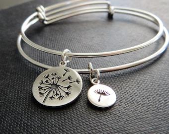 mother daughter bangle bracelet, dandelion charm, mother of the bride gift, mothers day, flower bracelet