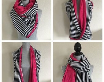 Reversible jersey snap scarf in hot pink with black/sparkle stripe