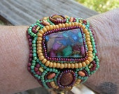 Native American Inspired Bead Embroidered Bracelet