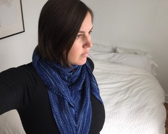 Deep Blue Hand Knit Shawl