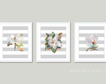 Magnolia Art Prints - Magnolia Wall Art - Watercolor Magnolia Flowers Prints - Set of 3 - Modern Home Decor - Aldari Art