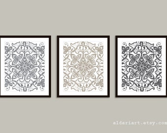 Floral Medallion Prints - Modern Floral Medallion Wall Art - Abstract Floral Prints - Set of 3 - Grey Taupe Neutral Colors Decor - AldariArt