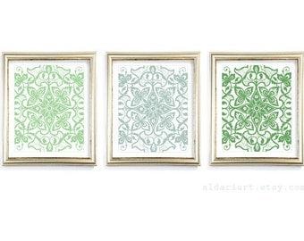 Floral Medallion Prints - Modern Floral Medallion Wall Art - Abstract Floral Prints - Set of 3 - Green Decor - AldariArt