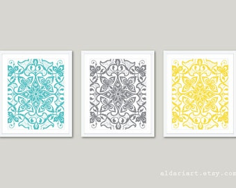 Floral Medallion Prints - Modern Floral Mandala Wall Art - Abstract Floral Prints - Set of 3 - Blue Yellow Gray Decor - AldariArt