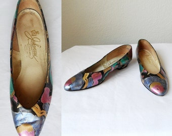 80s Multicolored Metallic Abstract Floral Design Slip On Artist Ballet Flats size 5.5 Narrow