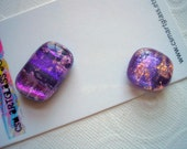 Magnets Dichroic Glass Purple with Clouds TWO Magnets Kitchen Magnets Fused Glass Refrigerator Magnets Dichroic Magnets Matching Magnets