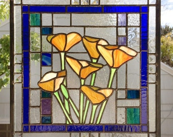 """California Poppies 12"""" x 12""""--Stained Glass Window Panel -"""