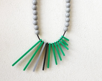 green grey black geometric necklace , minimalist contemporary jewelry
