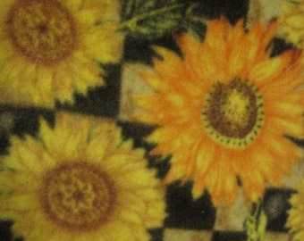 Blanket Handmade Fleece of Sunflowers with Green - Ready to Ship Now
