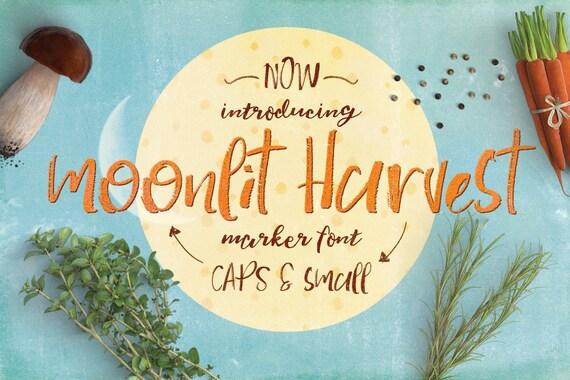 Digital Font Moonlit Harvest - Digital Typeface - Hand drawn marker font - Instant Download -