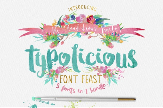 Typolicious Font Bundle - Third Storey - 5 Fonts in one bundle - Brush, script, Bold, Hand drawn