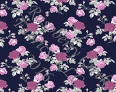 Navy Purple Magenta and Grey Rose Floral 4 Way Stretch FRENCH TERRY Knit Fabric, Club Fabrics PREORDER