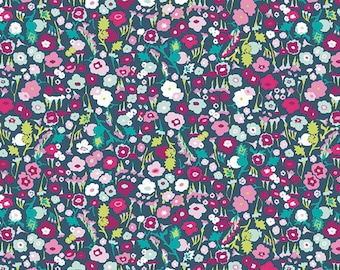 Blue Teal Pink and Green Ditsy Floral Cotton Fabric, Lavish by Katarina Roccella for Art Gallery Fabrics, Pretty Ditsy Dream, 1 Yard