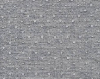 Indigo Blue Dobby Dot Double Gauze Chambray, Double Gauze Chambray Collection by Robert Kaufman, 1 Yard