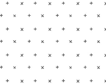 White and Black X Cross Jersey Knit Fabric, Wonderland by Katarina Roccella for Art Gallery Fabrics, Your Heart in Pure, 1 Yard JERSEY KNIT