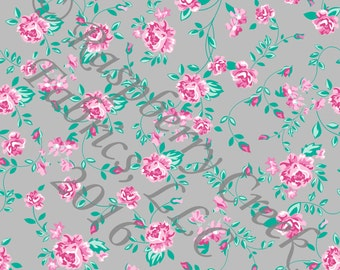 Grey Aqua and Pink Rose Vine Floral 4 Way Stretch FRENCH TERRY Knit Fabric, Club Fabrics