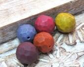 Artisan Beads for jewelry making, Art Beads, Geometric Beads, Hollow Beads, faced Beads, statement beads, polymer clay beads, handmade bead