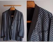1960s Mens Tuxedo Dinner Jacket... blue and black gabardine brocade Smoking Jacket ...Town & Country by Caulfeild ...XL/46