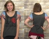 Upcycled Hippie Tshirt- Repurposed Tshirt- Nerdy Tshirt- Girly Tshirt- Hipster Tshirt- Grey Tshirt- Yoga Tshirt- Summer Shirt-XL
