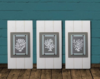 Set of 3 Framed Coral Silhouettes Distressed Plank Frames
