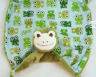 Baby Blanket, Green Frog Blankie, Security Blanket with Frogs, Personalization Available, Ready to Ship