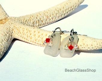 Sea Glass Earrings - Lake Erie Beach Glass Jewelry - Pierced Earrings