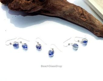 Blue Sea Glass Earrings - Lake Erie Beach Glass - Cage Earrings - Pierced Earrings