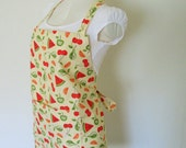 Adult Apron-Charming Mellow Yellow and Fresh Fruit Tossed All Over Apron, great apron to cook and entertain in, also a useful vendor apron