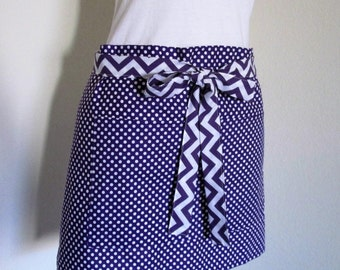 Purple Polka Dot Half Apron - A Fun Retro Vendor or Gardening Apron - Purple Dots-Chevron Purple Strap, Cook, Garden or Sell your Goodies