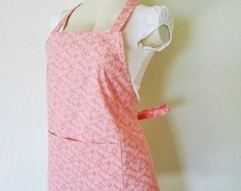 Adult Apron - Pale Pretty Petite Roses All Over This Beauty of an Apron - Lovely to entertain in